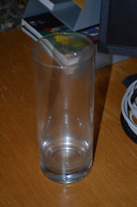 """18 Tall Cylinder Clear Glass Vases: 9 1/2"""" tall x 3 1/2"""" wide"""