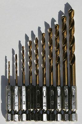 Bit - Bohrer Set Akkuschrauber HSS-Titan 10 Stück Sechskant Bitbohrer ()