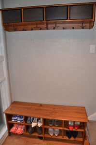 Wood entrance coat and shoe rack with storage boxes
