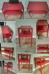 RED SOLID WOOD SIDE TABLE! FIRST COME FIRST SERVE