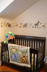Crib, Change Table, Mattress, Bedding, converts to toddler bed