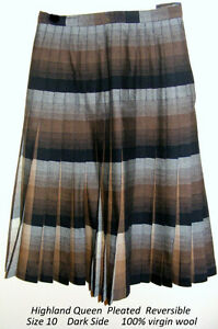 Highland 100% virgin wool, Pleats,10, brown, plaid, reversible