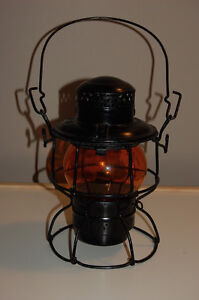 Rare orange glass CNR kerosene railway lamp