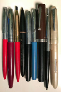 Lot of 9 Vintage Pens in various conditions: Sheaffer, Waterman'