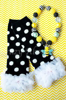Honey Bee Bumblebee Black & White Polka Dot Leg Warmers - Bee Leg Warmers
