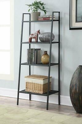 4 Tier Heavy Duty Metal Leaning Ladder Shelf Bookcase Bookshelf Storage Shelves