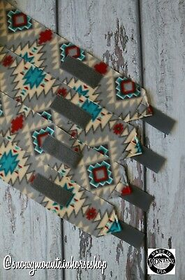 Horse Polo Leg Wraps Stable Wraps Polos Set of 4  Native American Gray&Turquoise