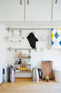 Wall Rail & Rack: (well-used) IKEA GRUNDTAL Kitchen Series