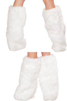 Sexy Faux Fur Furry White Leg Warmers Boot Covers Go Go Fluffy Costume Clubwear