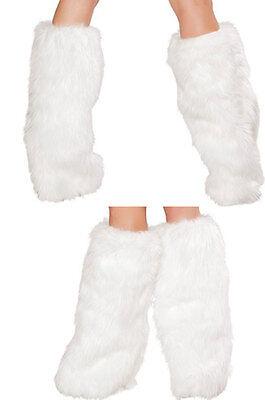 Sexy Exotic Faux Fur Furry White Leg Warmers Boot Cover Go Go Dance Clubwear