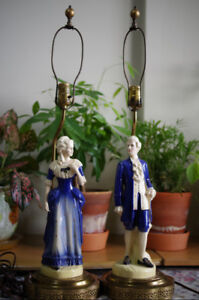 Pair of French style antique table lamps - HIS & HER