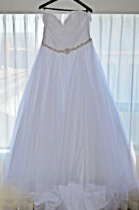 Wedding Dress, plus size, long train beaded belt and hair piece