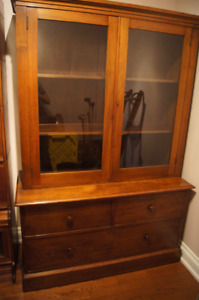 Antique Wood Display Hutch  & Cabinet with Drawers