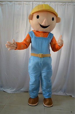 Bob The Builder Costume (New Bob The Builder Mascot Costume Cartoon Outfit Cosplay Dress Gifts Handmade)