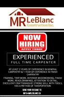 Hiring Full Time Experienced Carpenter