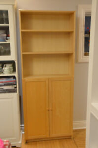 Two Ikea Billy bookcases with doors in Birch
