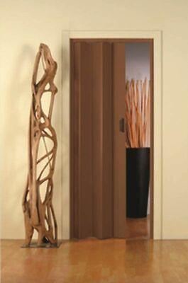 Puerta Plegable PVC con Manejar cm 83x214 Nogal Reducible Desaparición