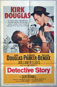 Original 1960 KIRK DOUGLAS DETECTIVE STORY reissue movie poster