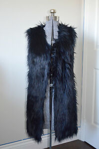 Punk Goth Rocker Industrial Fun Fur Midnight Blue (Navy & Black)