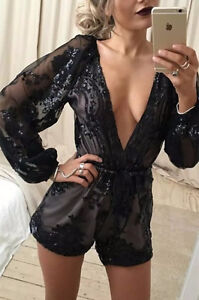 BRAND NEW Deep Plunge V-Neck Long Sleeved Beaded Sequin Playsuit Cambridge Kitchener Area image 7