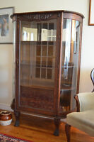 Antique Solid Oak/Curved Glass China Cabinet w Claw Feet