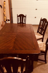 Antique Solid Dark Wood Table and Chairs