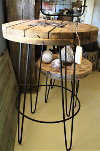 RUSTIC TALL BISTRO TABLE, BAR HEIGHT, HAIRPIN LEGS, SOLID WOOD