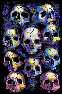 Wall of Skulls Blacklight Art Poster Print Blacklight Poster Print, 24x36
