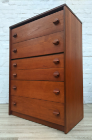 Stag Teak Tallboy Chest Of Drawers (DELIVERY AVAILABLE)