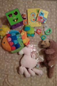 Baby books, toys and stuffies.,