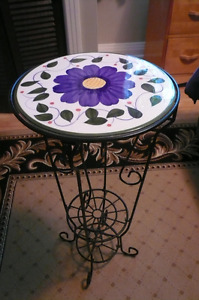 2 wrought iron ceramic plant stands