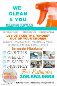 We Clean 4 you cleaning servieses Regina Regina Area image 1