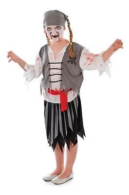 Piraten Zombie Mädchen (L) , Kinder Halloween Kostüm, Kinder Buch Woche