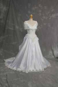 Wedding Dress -White with removable sleeves