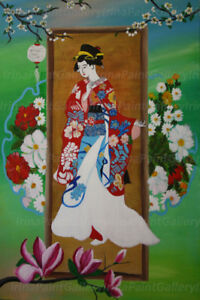Japanese geisha,Contemporary Portrait ,Art Wall painting $300.00