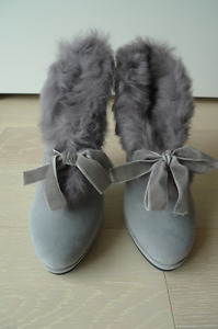 Genuine Leather Rabbit Fur-Trimmed Ankle Boots