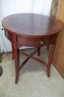 Round Mahogany Finish Side End Drum Table, With 4 Drawers