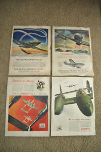 1942 WW2 Aviation Advertisements Lot of 4 Pictures World War 2