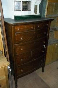 6 Drawer Oak Mans Tall Boy Dresser