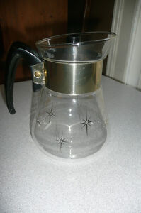 Vintage Starburst Corning glass 6 cup coffee pot with lid