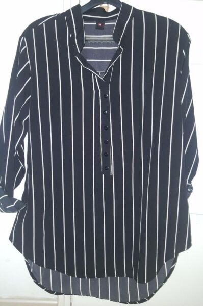 Brand new black and white stripe blouse/shirt