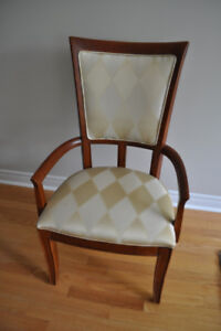 2 Arm chairs in Ivory / Gold harlequin pattern - Can deliver