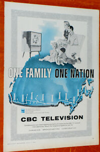 1958 CBC TELEVISION CANADIAN BROADCASTING TV VINTAGE AD - ANONCE