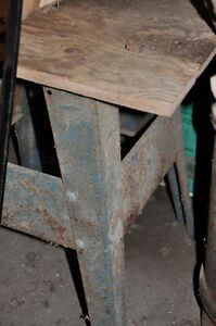 STEEL SHOP TABLE--PLYWOOD TOP