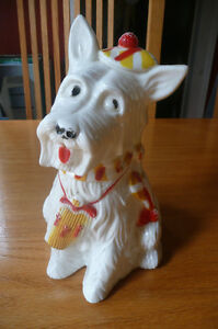 Vintage White Scottie Dog Bank