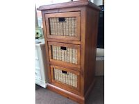 Reclamied Timber Solid Wood Wicker Cabinet