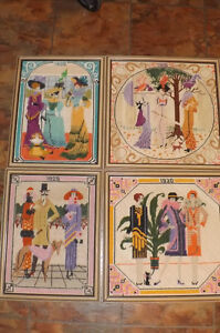 Set of 4 FASHION DESIGN Needlepoints 1900, 1910, 1920, 1930