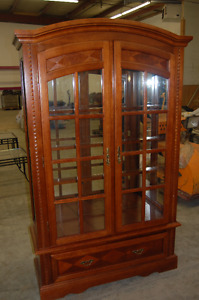Oak China Cabinet with Light