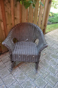 Brown Painted wicker Chair and foot stool