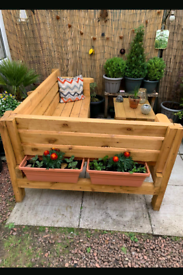 L shape rustic Garden bench with coffee table handcrafted